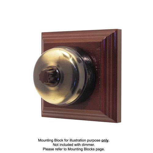 Genuine Clipsal Classic Universal Dimmer With Black Porcelain Base - Antique Brass