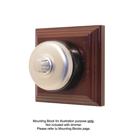 Genuine Clipsal Classic Universal Dimmer With Black Porcelain Base - Satin Chrome