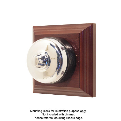 Genuine Clipsal Classic Universal Dimmer With Black Porcelain Base - Chrome