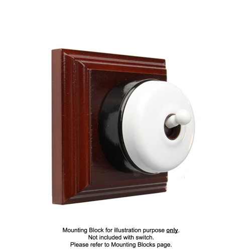 White on Black Porcelain Base Heritage Light Switch