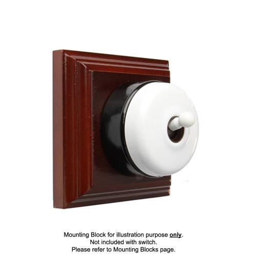 White on Black Porcelain Base Heritage Light Switch