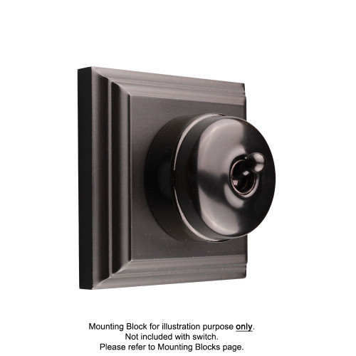 Black on Black Porcelain Base Heritage Light Switch