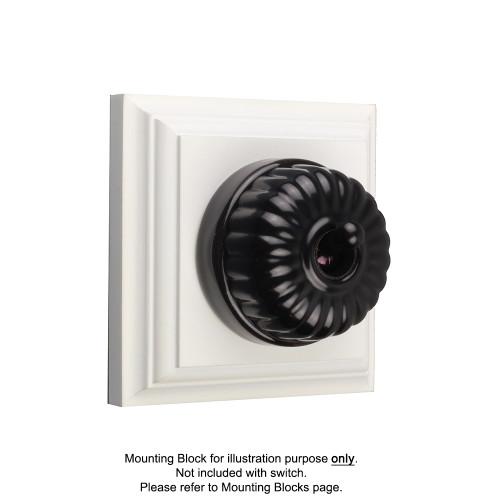 Black on Black Porcelain Base Vintage Fluted Light Switches