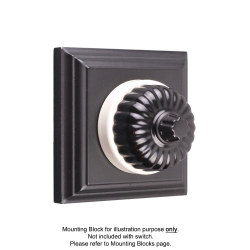 Black on White Porcelain Base Heritage Fluted Three Speed Fan Controllers