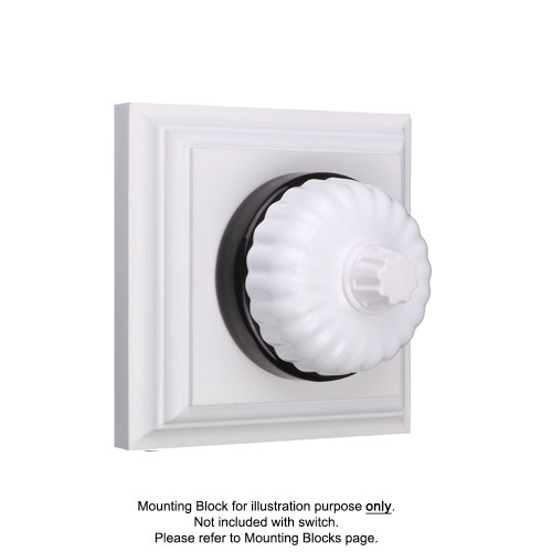 White on Black Porcelain Base Heritage Fluted Three Speed Fan Controllers