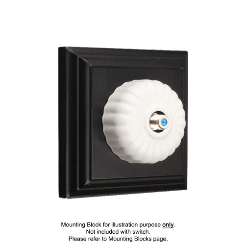 White Clipsal Heritage Fluted Pay TV Aerial Sockets
