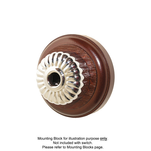 Clipsal Heritage Style Ribbed Telephone Socket - Chrome