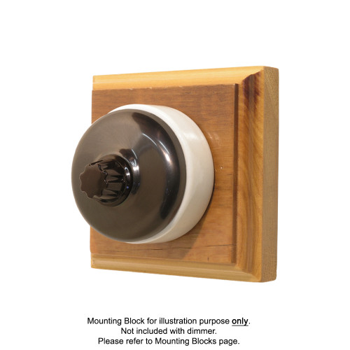 Classic Clipsal Three Speed Fan Controller With White Ceramic Base - Non-Relieved Bronze