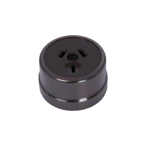 Heritage Clipsal Round Power Point Socket - Brown Socket with Non-Relieved Bronze Cover