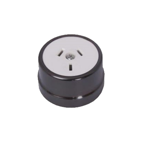 Heritage Clipsal Round Power Point Socket - White Socket with Non-Relieved Bronze Cover