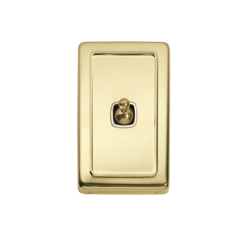 1 Gang Flat Plate Heritage Light Switches - Brass Toggle with White Base