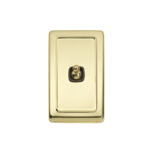 Classic 1 Gang Flat Plate Heritage Light Switches - Brass Toggle with Brown Base