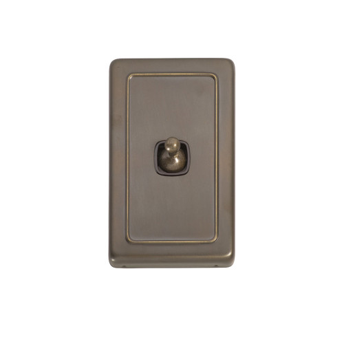 1 Gang Flat Plate Heritage Light Switches - Antique Brass Toggle 5892