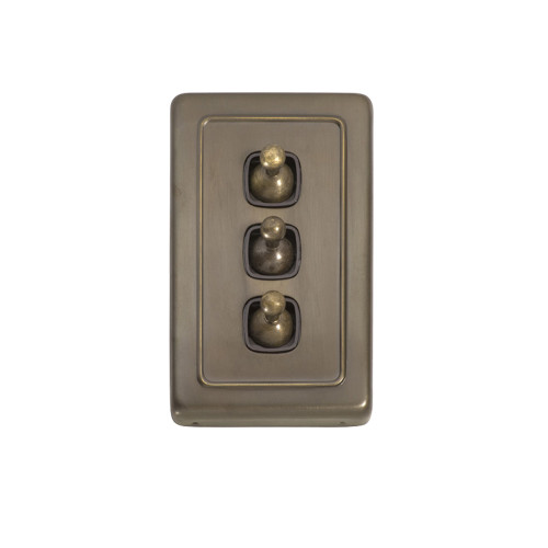 3 Gang Antique Brass Toggle Light Switch - Heritage Style  5894