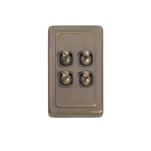 4 Gang Flat Plate Heritage Light Switches - Antique Brass Toggle 5895