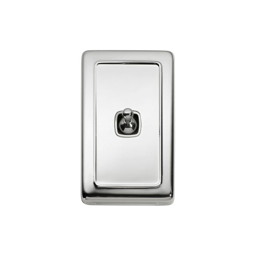 1 Gang Flat Plate Heritage Light Switches - Chrome Toggle