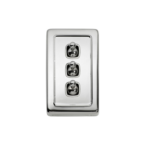 3 Gang Flat Plate Heritage Light Switches - Chrome Toggle