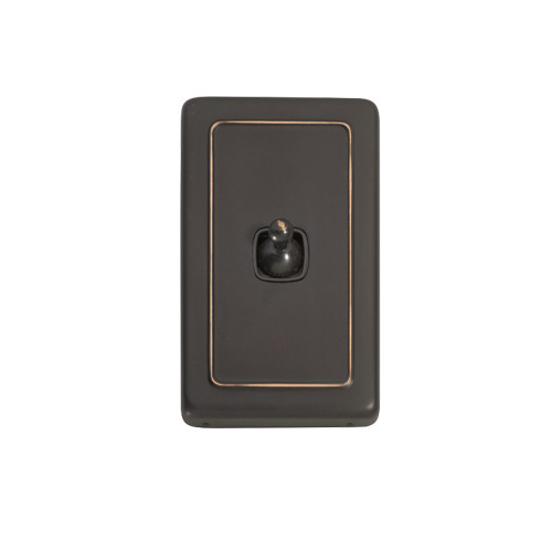 1 Gang Flat Plate Heritage Light Switches - Antique Copper Toggle