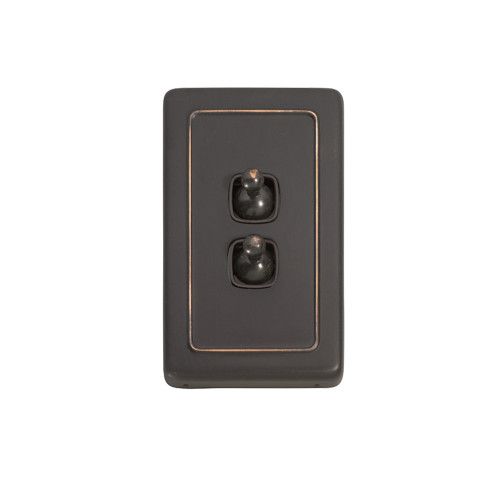 2 Gang Flat Plate Heritage Light Switches - Antique Copper Toggle