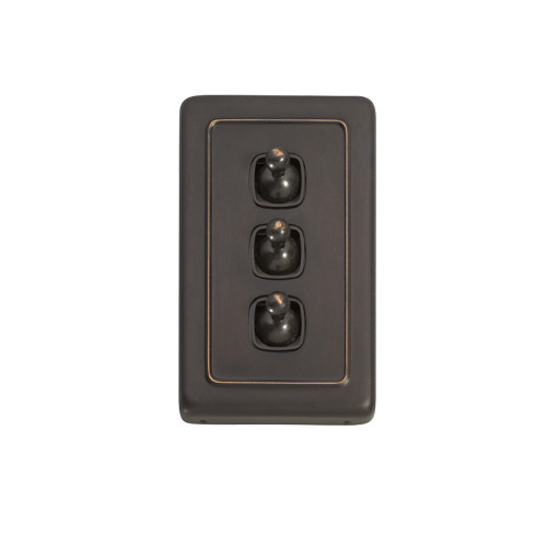 3 Gang Flat Plate Heritage Light Switches - Antique Copper Toggle