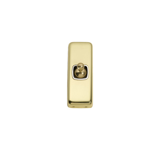 1 Gang Flat Plate  Heritage Architrave Light Switches - Brass Toggle with White Base