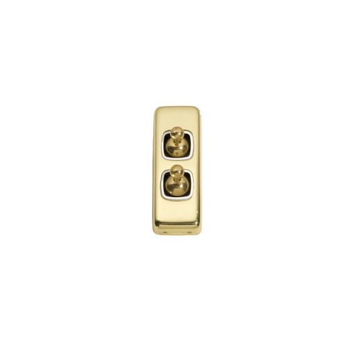 2 Gang Flat Plate  Heritage Architrave Light Switches - Brass Toggle with White Base