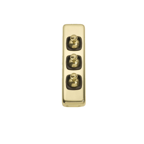 Classic 3 Gang Flat Plate Heritage Architrave Light Switches - Brass Toggle with Brown Base