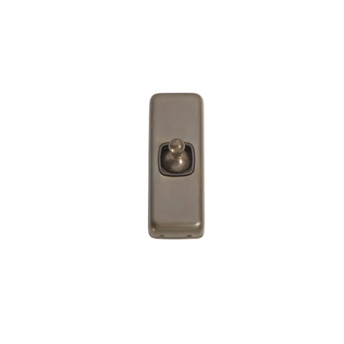 1 Gang Flat Plate  Heritage Architrave Light Switches - Antique Brass Toggle with Brown Base 5890