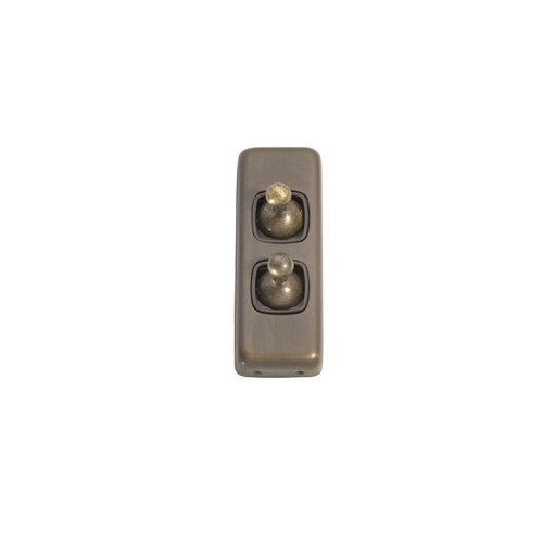 2 Gang Flat Plate Heritage Architrave Light Switches - Antique Brass Toggle with Brown Base 5891