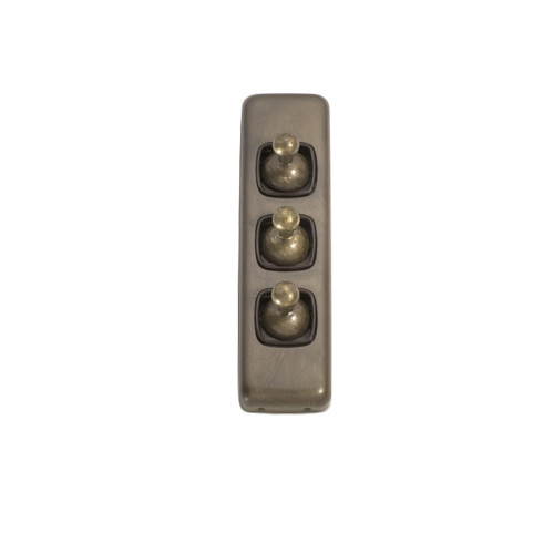 3 Gang Flat Plate Heritage Architrave Light Switches - Antique Brass Toggle with Brown Base 5896