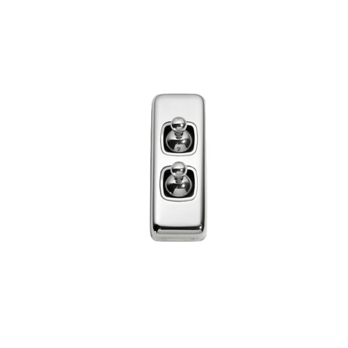 2 Gang Flat Plate Heritage Architrave Light Switches - Chrome Toggle with White Base
