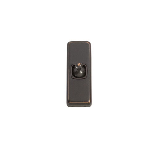 1 Gang Flat Plate Heritage Architrave Light Switches - Antique Copper Toggle with Brown Base