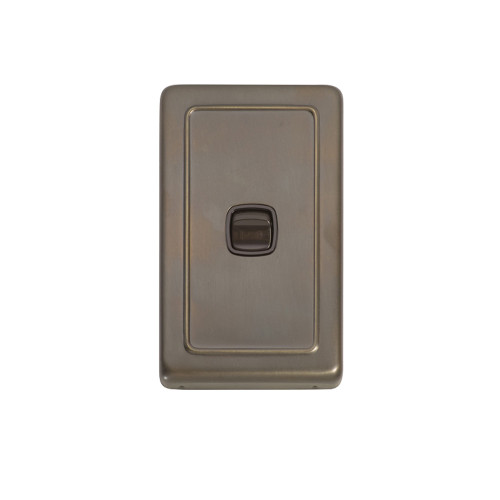 1 Gang Flat Plate Heritage Light Switch - Antique Brass Plate with Brown Rocker 5842