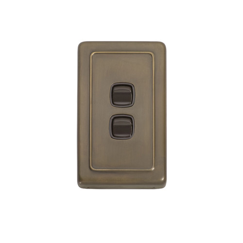 2 Gang Flat Plate Heritage Light Switch - Antique Brass Plate with Brown Rocker 5843