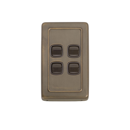 4 Gang Flat Plate Heritage Light Switch - Antique Brass Plate with Brown Rocker 5845