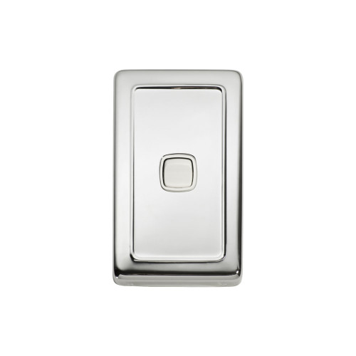 1 Gang Flat Plate Heritage Light Switch - Chrome Plate with White Rocker