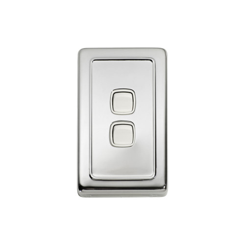 2 Gang Flat Plate Heritage Light Switch - Chrome Plate with White Rocker
