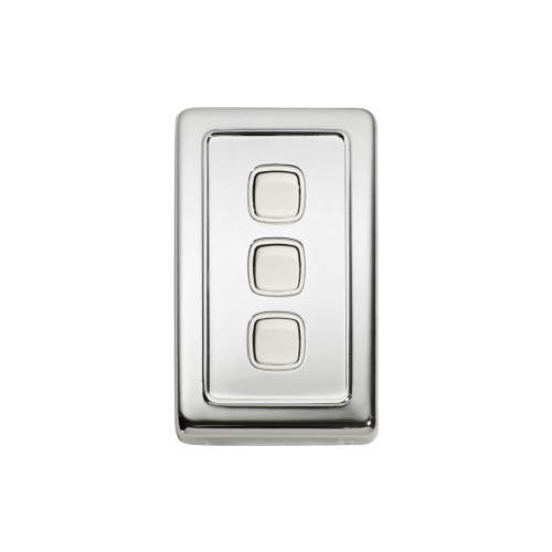 3 Gang Flat Plate Heritage Light Switch - Chrome Plate with White Rocker