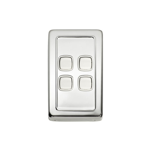 4 Gang Flat Plate Heritage Light Switch - Chrome Plate with White Rocker