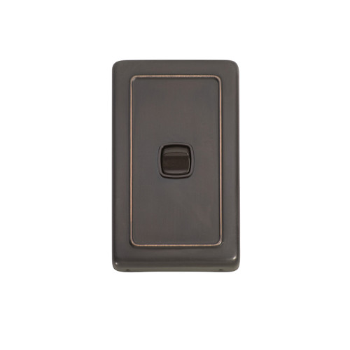 1 Gang Flat Plate Heritage Light Switch - Antique Copper Plate with Brown Rocker