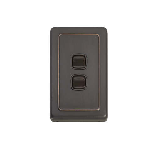 2 Gang Flat Plate Heritage Light Switch - Antique Copper Plate with Brown Rocker
