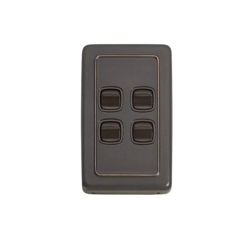 4 Gang Flat Plate Heritage Light Switch - Antique Copper Plate with Brown Rocker