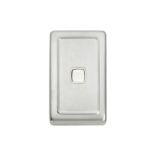1 Gang Flat Plate Heritage Light Switch - Satin Chrome Plate with White Rocker