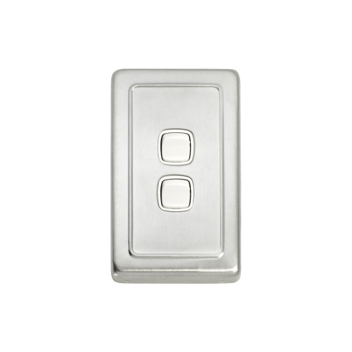 2 Gang Flat Plate Heritage Light Switch - Satin Chrome Plate with White Rocker