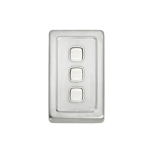 3 Gang Flat Plate Heritage Light Switch - Satin Chrome Plate with White Rocker