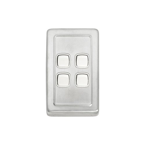 4 Gang Flat Plate Heritage Light Switch - Satin Chrome Plate with White Rocker