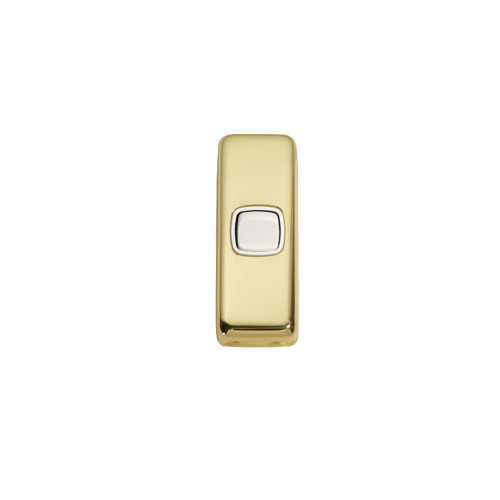 1 Gang Flat Plate Heritage Architrave Light Switches - Polished Brass Plate with White Rocker