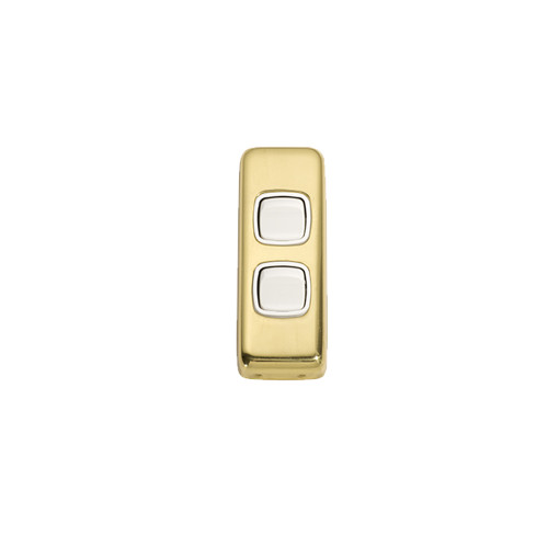 2 Gang Flat Plate Heritage Architrave Light Switches - Polished Brass Plate with White Rocker