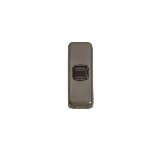1 Gang Flat Plate Heritage Architrave Light Switches - Antique Brass Plate with Brown Rocker 5840