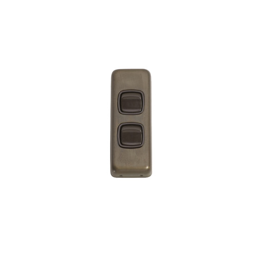 2 Gang Flat Plate Heritage Architrave Light Switches - Antique Brass Plate with Brown Rocker 5841